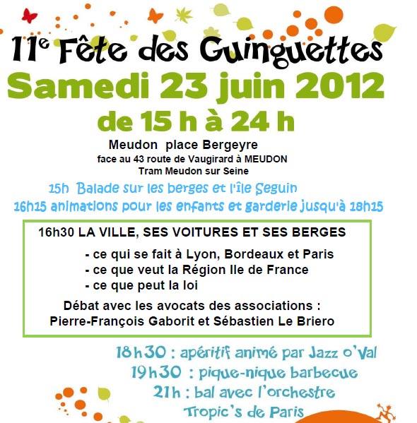 Programme de la Fête des Guinguettes 2012