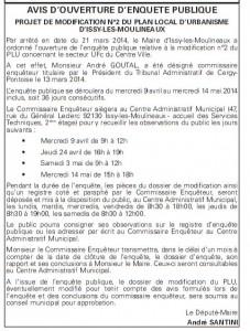 annonce enquete publique PLU UFc centre-ville issy