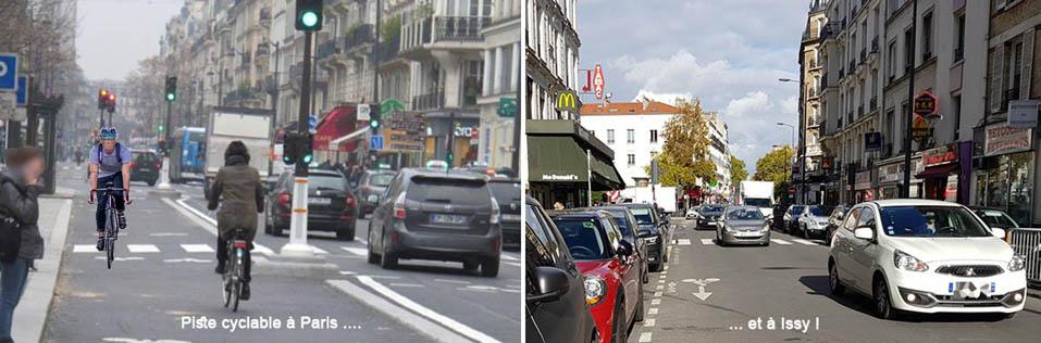 Pistes cyclables Paris et Issy